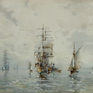 FRANK KELSEY WATERCOLOUR MARINE SHIPPING CARRICK ROADS