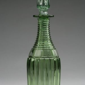 ANTIQUE GREEN CUT GLASS DECANTER