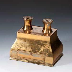 ANTIQUE BRASS INKWELL AS A PAIR OF BINOCULARS