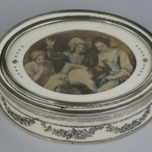 ANTIQUE SILVER MOUNTED IVORY BOX