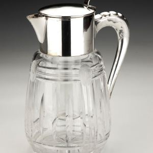 ANTIQUE GLASS & SILVER PLATE LEMONADE JUG