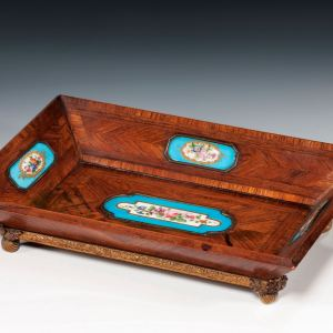 ANTIQUE LETTER TRAY WITH PORCELAIN PLAQUES