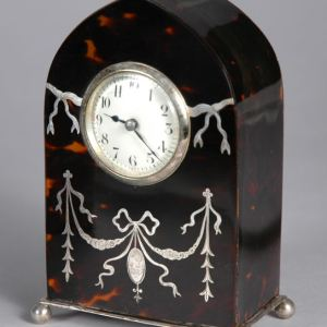 ANTIQUE TORTOISESHELL AND SILVER MANTEL CLOCK