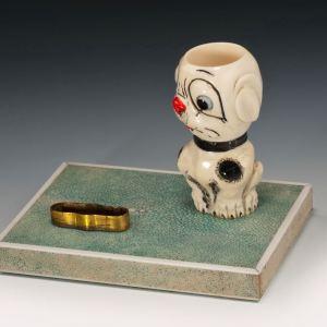 VINTAGE DOG MODELLED SHAGREEN AND IVORY MATCHSTICK HOLDER