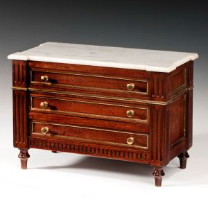 ANTIQUE FRENCH MINIATURE MAHOAGNY DIRECTOIRE COMMODE