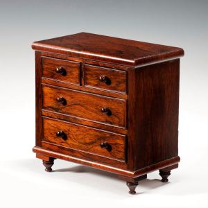 ANTIQUE MINIATURE ROSEWOOD CHEST OF DRAWERS