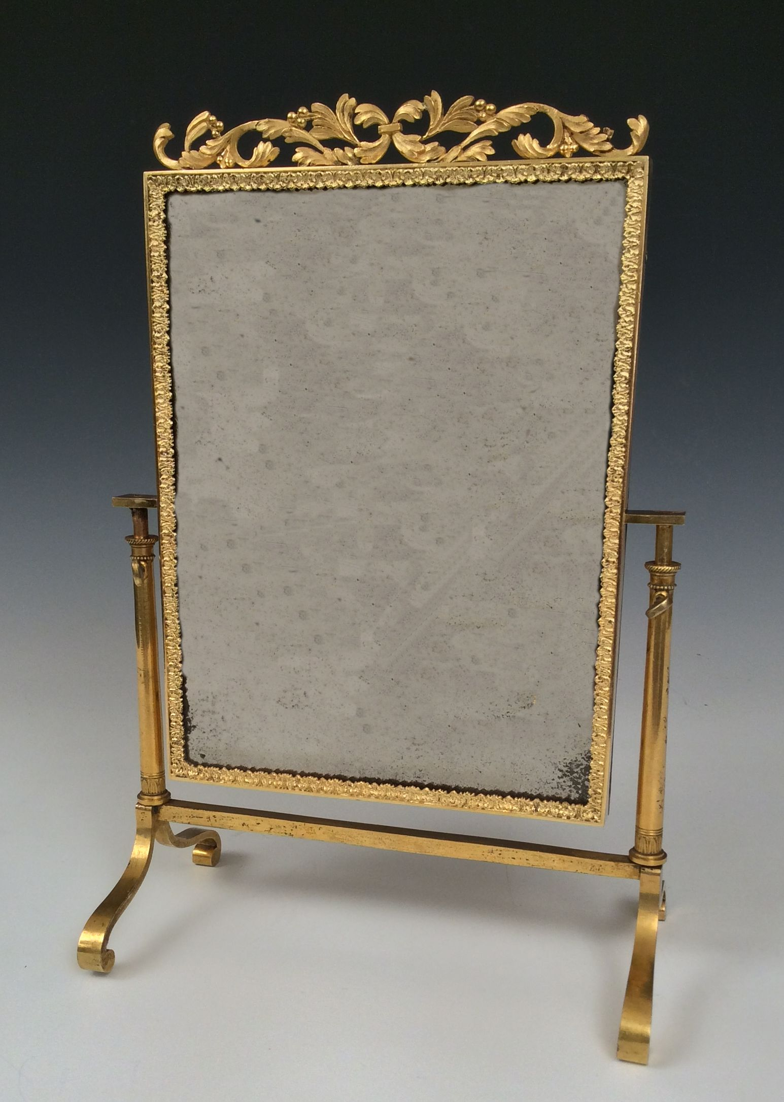 Antique mirrored dressing table - Antique Ormolu Gilt Bronze Viennese Miniature Dressing Table Mirror