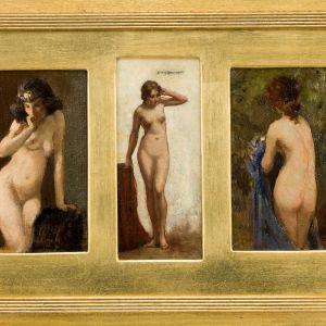 ALLAN DOUGLAS DAVIDSON OIL PAINTING FEMALE NUDES