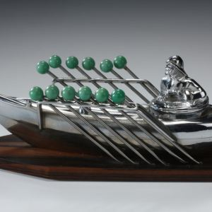 ANTIQUE CHROME ROWING BOAT OLIVE DISH