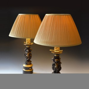 ANTIQUE PAIR OF BRONZE AND PARCEL GILT TABLE LAMPS