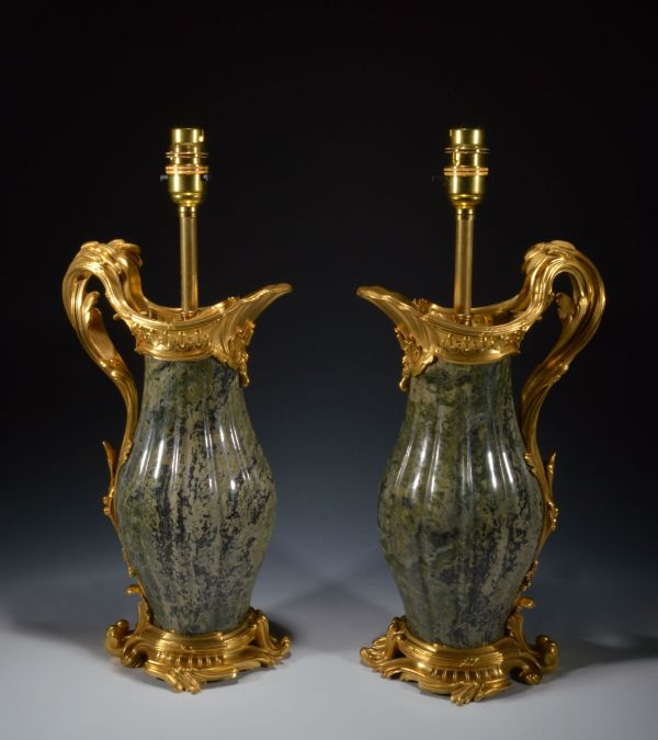 pair-antique-table-lamps-French-gilt-bronze-marble-ewers-vases-Jean-Claude-Duplessis-DSC_3044