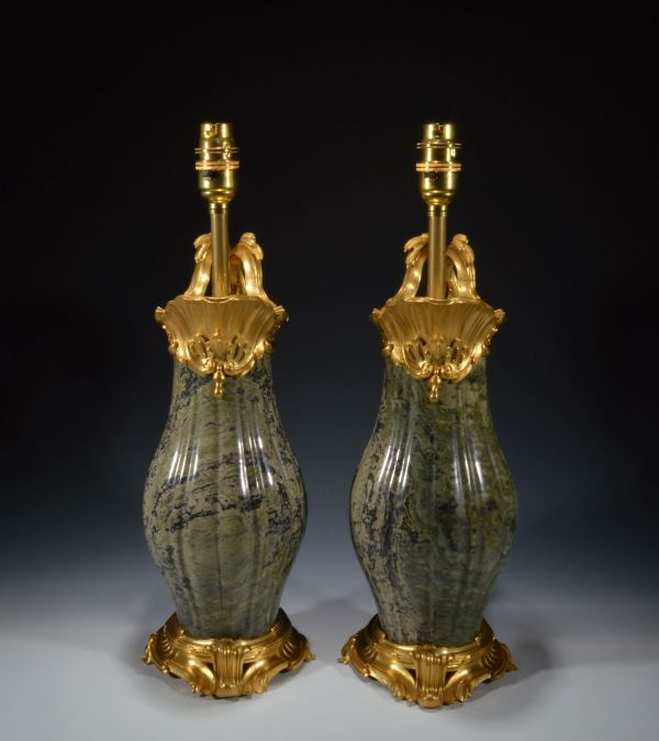 pair-antique-table-lamps-French-gilt-bronze-marble-ewers-vases-Jean-Claude-Duplessis-DSC_3049