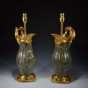 pair-antique-table-lamps-French-gilt-bronze-marble-ewers-vases-Jean-Claude-Duplessis