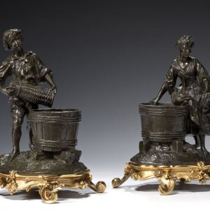 PAIR OF ANTIQUE BRONZE FIGURES OF A MAN & WOMAN