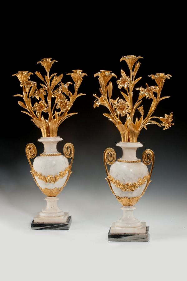 ANTIQUE PAIR OF LOUIS XVI STYLE ORMOLU & MARBLE CANDELABRA