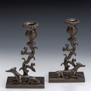 ANTIQUE PAIR OF REGENCY BRONZE GREYHOUND & SQUIRREL ANIMALIER CANDLESTICKS