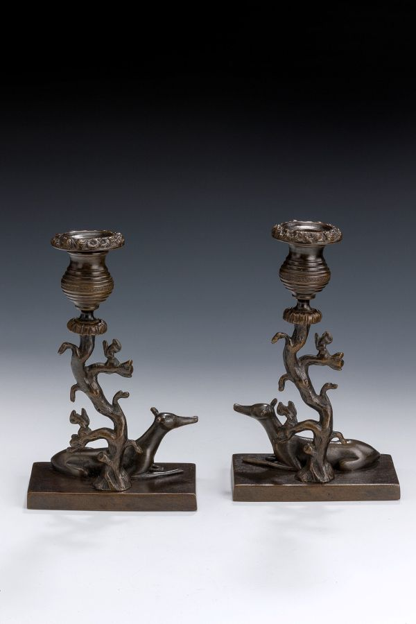 pair-candlesticks-bronze-animalier-greyhounds-squirrels-Regency-antique-5408_1_5408