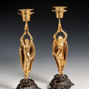 ANTIQUE PAIR OF BRONZE DEVIL FIGURAL CANDLESTICKS
