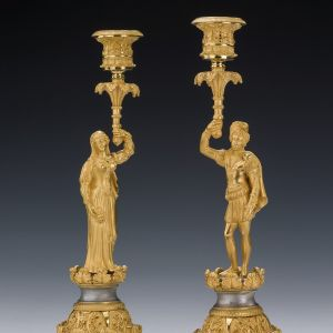 ANTIQUE FINE PAIR OF GILT AND SILVERED BRONZE GOTHIC FIGURAL CANDLESTICKS