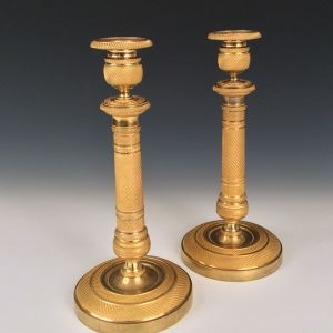 SUPERB PAIR OF ANTIQUE FRENCH EMPIRE ORMOLU CANDLESTICKS