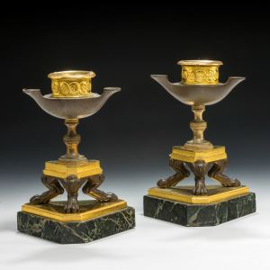ANTIQUE PAIR OF REGENCY ORMOLU BRONZE & MARBLE CANDLESTICKS