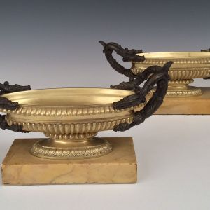 ANTIQUE PAIR PATINATED & GILT BRONZE TAZZA ON SIENNA MARBLE BASES