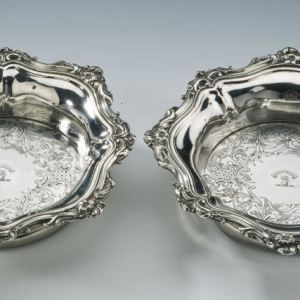 ANTIQUE PAIR OLD SHEFFIELD PLATE COASTERS