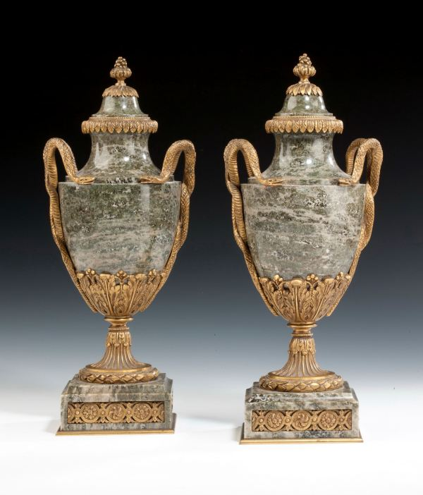 PAIR OF ANTIQUE ORMOLU AND MARBLE LIDDED URNS