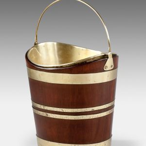 ANTIQUE DUTCH MAHOGANY BRASS BOUND PEAT BUCKET