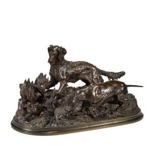 PIERRE JULES MENE ANTIQUE BRONZE HUNTING DOGS SETTER POINTER
