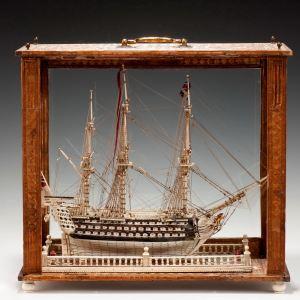 ANTIQUE FRENCH PRISONER OF WAR BONE SHIPS MODEL