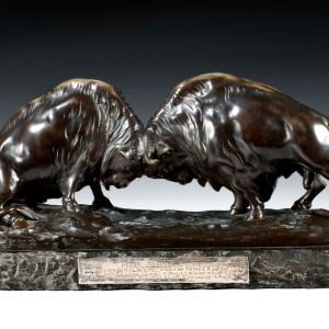 PROFESSOR OTTO POERTZEL ANTIQUE BRONZE PAIR BISON