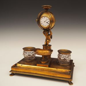 ANTIQUE REGENCY ORMOLU INKSTAND WITH WATCH MOVEMENT