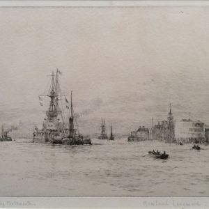 ROWLAND LANGMAID ETCHING LEAVING PORTSMOUTH HARBOUR