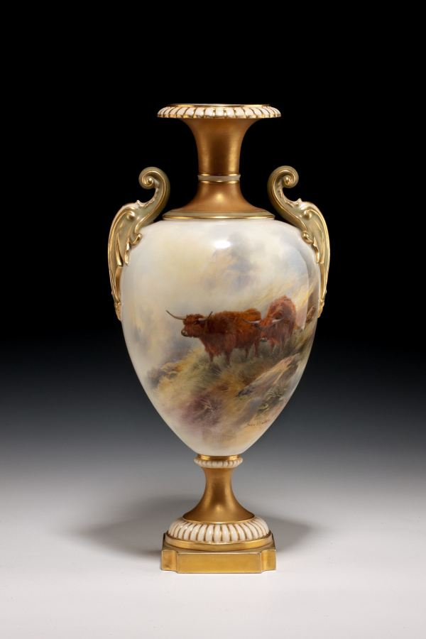 ANTIQUE ROYAL WORCESTER PORCELAIN VASE CATTLE BY JOHN STINTON