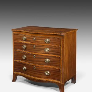 ANTIQUE REGENCY MAHOGANY SERPENTINE CHEST OF DRAWERS