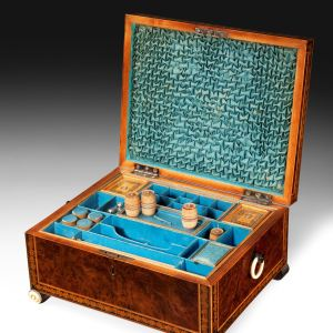 ANTIQUE EARLY 19TH CENTURY BURR YEW SEWING BOX
