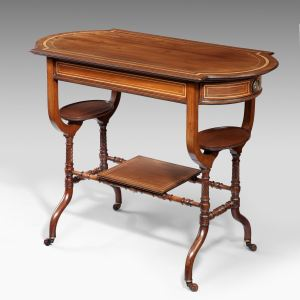 ANTIQUE MAHOGANY & MAPLE BOW ENDED SIDE TABLE