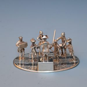 MINIATURE SILVER GROUP OF MUSICIANS