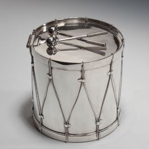 ANTIQUE SILVER PLATED DRUM BISCUIT BOX