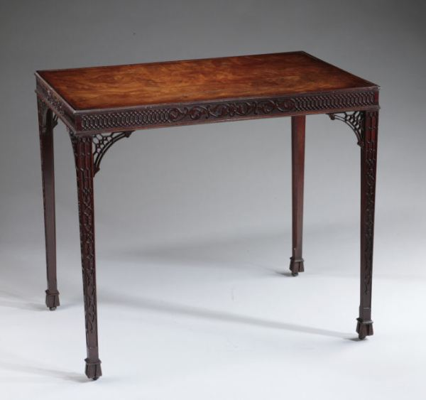 ANTIQUE GEORGE III MAHOGANY SILVER TABLE WITH BLIND FRETWORK