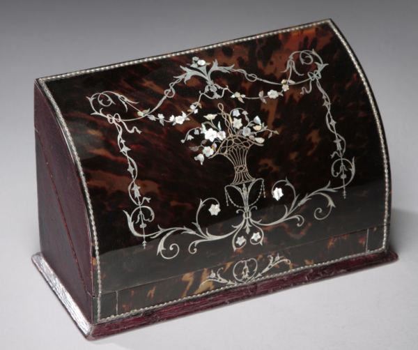 SUPERB ANTIQUE TORTOISESHELLAND INLAID STATIONERY BOX