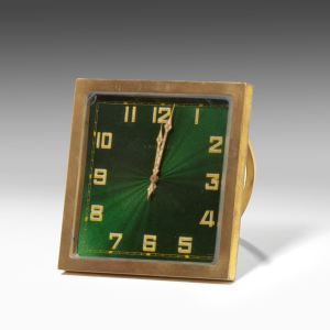 ANTIQUE BRONZE & ENAMEL STRUT CLOCK