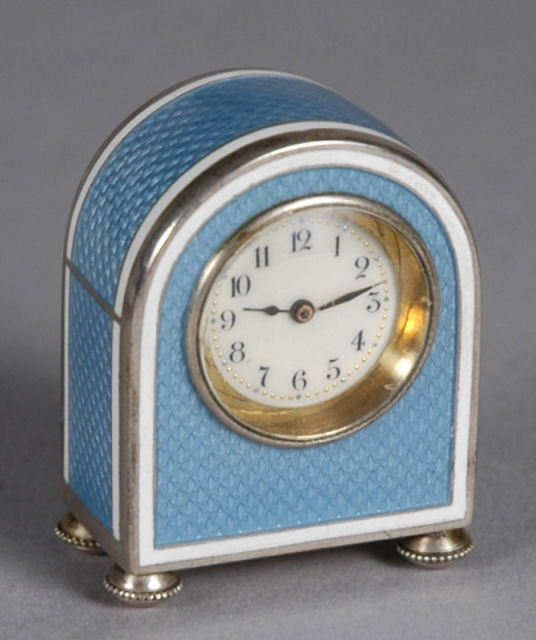 ANTIQUE SUB MINIATURE GUILLOCHE ENAMEL BOUDOIR CLOCK