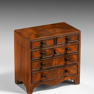 ANTIQUE MINIATURE CHEST OF DRAWERS TEA CADDY