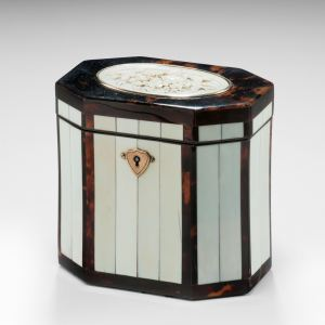 ANTIQUE TORTOISESHELL AND IVORY TEA CADDY