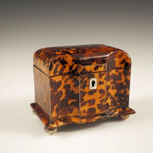 ANTIQUE SERPENTINE TORTOISESHELL TEA CADDY