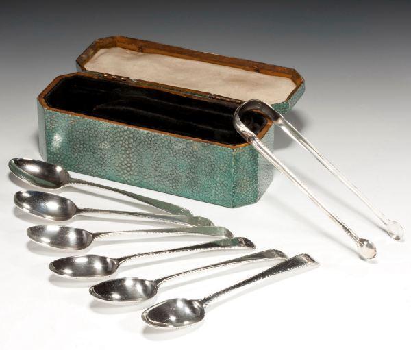 ANTIQUE SHAGREEN TEA SPOON BOX THOMAS CHAWNER