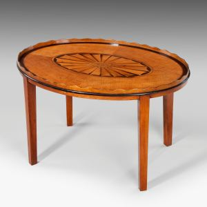 ANTIQUE OVAL TRAY ON STAND
