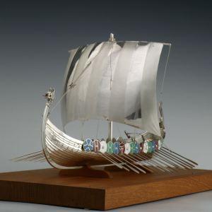 SILVER MODEL OF A VIKING LONG SHIP